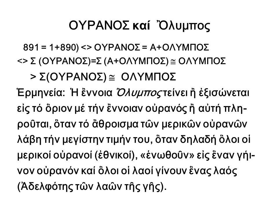 ΟΥΡΑΝΟΣ καί Ὂλυμπος 891 = 1+890) <> ΟΥΡΑΝΟΣ = Α+ΟΛΥΜΠΟΣ <> Σ (ΟΥΡΑΝΟΣ)=Σ (Α+ΟΛΥΜΠΟΣ)  ΟΛΥΜΠΟΣ > Σ(ΟΥΡΑΝΟΣ)  ΟΛΥΜΠΟΣ Ἑρμηνεία: Ἡ ἒννοια Ὃλυμπος τείνε