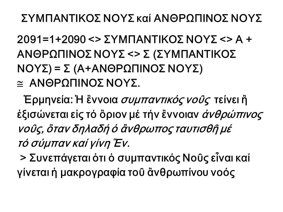ΣΥΜΠΑΝΤΙΚΟΣ ΝΟΥΣ καί ΑΝΘΡΩΠΙΝΟΣ ΝΟΥΣ 2091=1+2090 <> ΣΥΜΠΑΝΤΙΚΟΣ ΝΟΥΣ <> Α + ΑΝΘΡΩΠΙΝΟΣ ΝΟΥΣ <> Σ (ΣΥΜΠΑΝΤΙΚΟΣ ΝΟΥΣ) = Σ (Α+ΑΝΘΡΩΠΙΝΟΣ ΝΟΥΣ)  ΑΝΘΡΩΠΙΝ