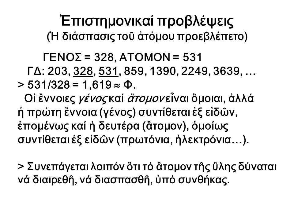 Ἐπιστημονικαί προβλέψεις (Ἡ διάσπασις τοῦ ἀτόμου προεβλέπετο) ΓΕΝΟΣ = 328, ΑΤΟΜΟΝ = 531 ΓΔ: 203, 328, 531, 859, 1390, 2249, 3639, … > 531/328 = 1,619