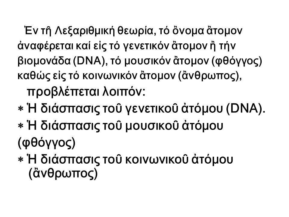 Ἐν τῆ Λεξαριθμική θεωρία, τό ὂνομα ἂτομον ἀναφέρεται καί εἰς τό γενετικόν ἂτομον ἢ τήν βιομονάδα (DNA), τό μουσικόν ἂτομον (φθόγγος) καθώς εἰς τό κοιν