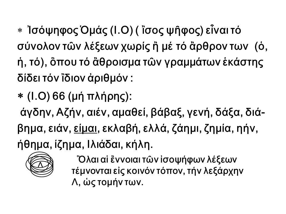 Ὁρίζονται 4 λεξαριθμικαί σχέσεις: Σχέσις 1 η : Ἡ ἰσοψηφία δύο ἢ περισσοτέρων λέξεων μέ ἢ χωρίς τά ἂρθρα των (ὁ, ἡ, τό):  ΑΡΙΘΜΟΣ = ΚΑΘΟΛΙΚΟΣ = 430  Ο ΧΡΟΝΟΣ = Ο ΚΥΡΤΟΣ = 1160  ΕΛΛΗΝΑΣ = Ο ΜΙΓΑΣ = 324  ΘΕΟΣ = ΟΙΚΟΛΟΓΙΑ =284  ΣΕΙΣΜΟΣ = ΤΟ ΡΑΔΟΝΙΟΝ = 725  Η ΘΕΟΤΗΣ = ΚΟΣΜΟΣ = 600 > Οἱ ἀριθμοί 430, 1160, 324, 284, 725 καί 600 σχετίζονται ὀντολογικῶς μέ τήν λεξάρχην Λ.
