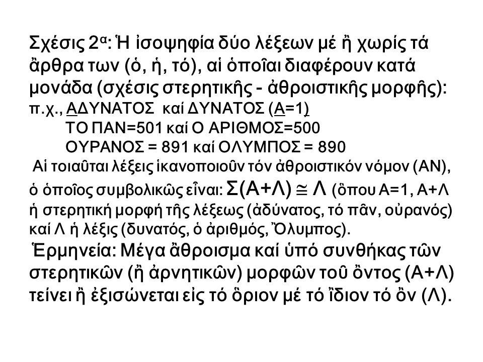 Σχέσις 2 α : Ἡ ἰσοψηφία δύο λέξεων μέ ἢ χωρίς τά ἂρθρα των (ὁ, ἡ, τό), αἱ ὁποῖαι διαφέρουν κατά μονάδα (σχέσις στερητικῆς - ἀθροιστικῆς μορφῆς): π.χ.,