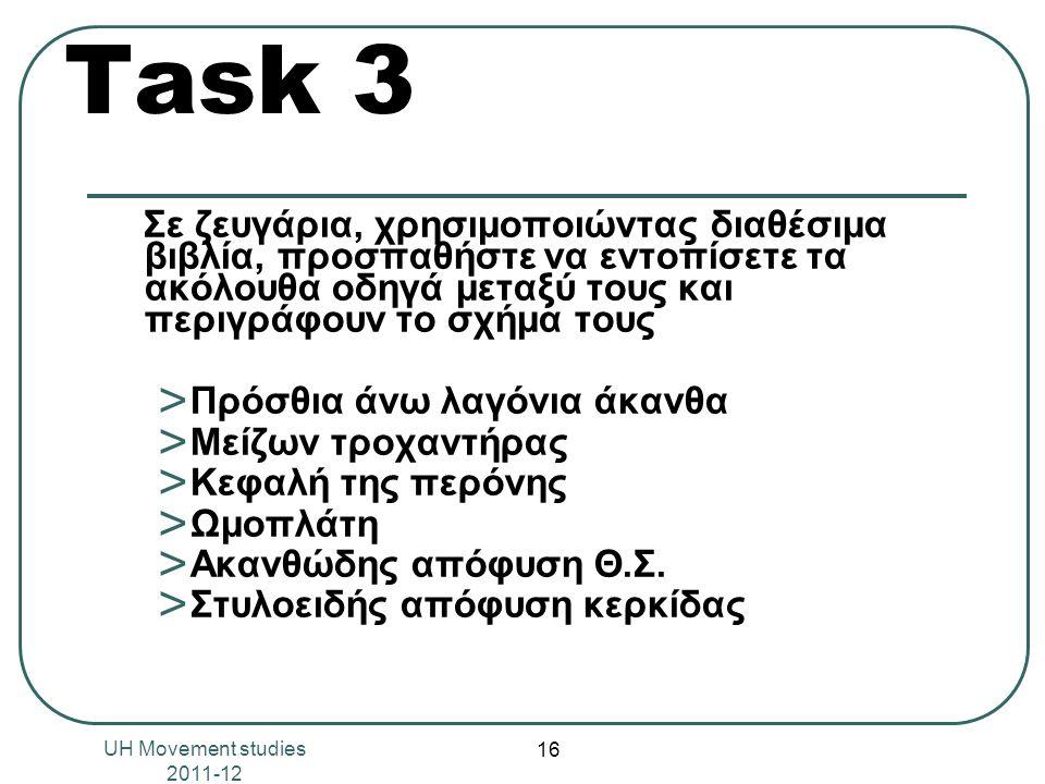 Task 3 Σε ζευγάρια, χρησιμοποιώντας διαθέσιμα βιβλία, προσπαθήστε να εντοπίσετε τα ακόλουθα οδηγά μεταξύ τους και περιγράφουν το σχήμα τους ˃ Πρόσθια άνω λαγόνια άκανθα ˃ Μείζων τροχαντήρας ˃ Κεφαλή της περόνης ˃ Ωμοπλάτη ˃ Ακανθώδης απόφυση Θ.Σ.