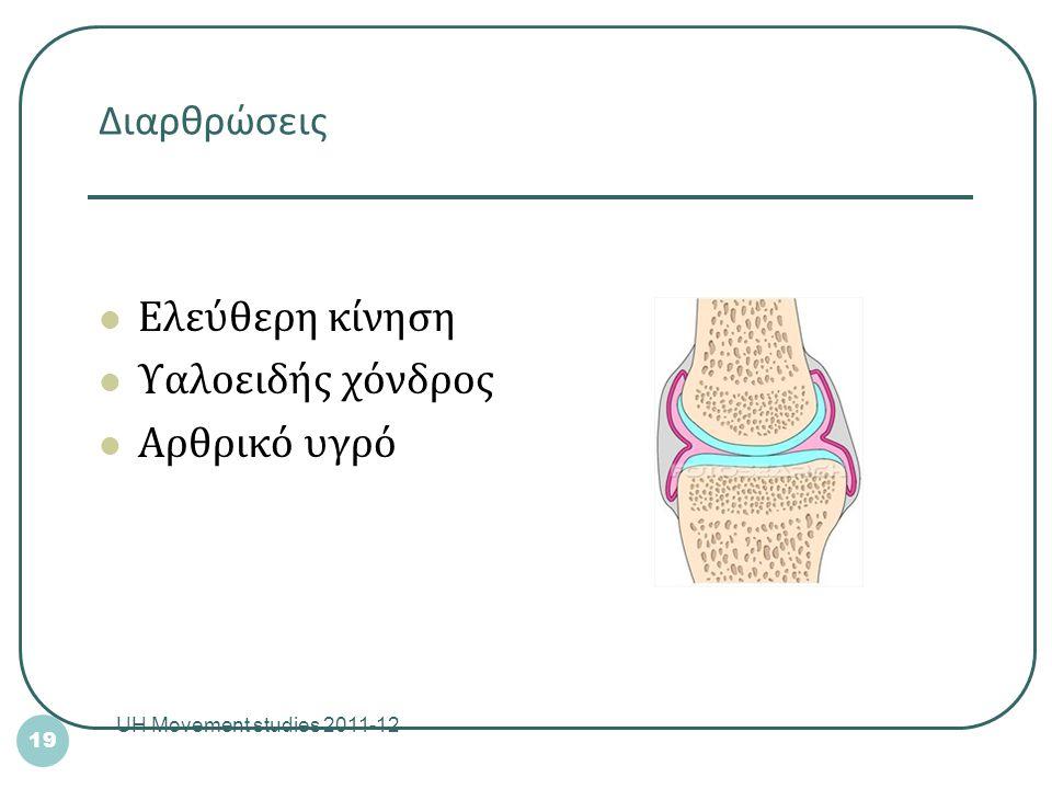 Διαρθρώσεις Ελεύθερη κίνηση Υαλοειδής χόνδρος Αρθρικό υγρό UH Movement studies 2011-12 19