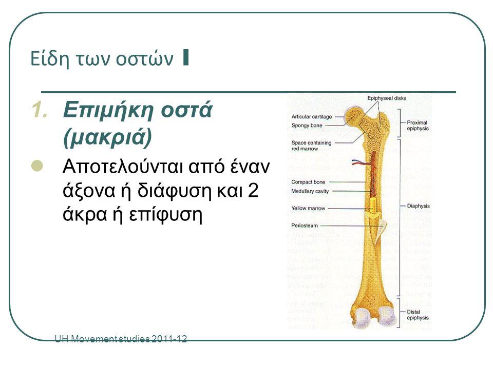 Είδη των οστών I 1.Επιμήκη οστά (μακριά) Αποτελούνται από έναν άξονα ή διάφυση και 2 άκρα ή επίφυση UH Movement studies 2011-12 8