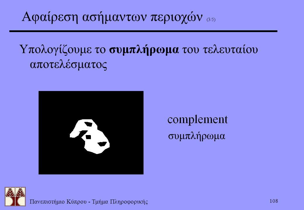 Πανεπιστήμιο Κύπρου - Τμήμα Πληροφορικής 108 Αφαίρεση ασήμαντων περιοχών (3/5) Υπολογίζουμε το συμπλήρωμα του τελευταίου αποτελέσματος συμπλήρωμα
