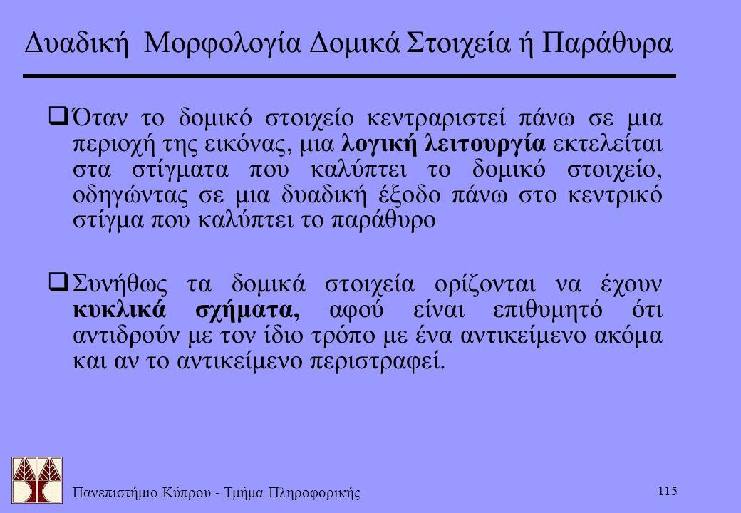 Πανεπιστήμιο Κύπρου - Τμήμα Πληροφορικής 115  Όταν το δομικό στοιχείο κεντραριστεί πάνω σε μια περιοχή της εικόνας, μια λογική λειτουργία εκτελείται