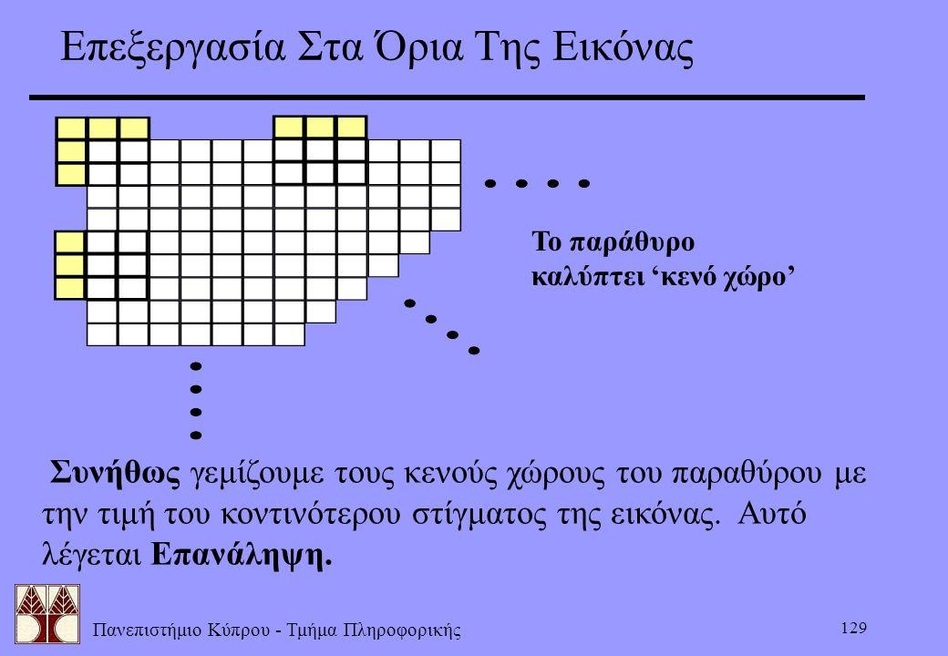 Πανεπιστήμιο Κύπρου - Τμήμα Πληροφορικής 129 Επεξεργασία Στα Όρια Της Εικόνας Το παράθυρο καλύπτει 'κενό χώρο' Συνήθως γεμίζουμε τους κενούς χώρους το