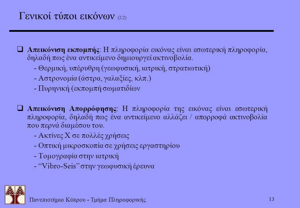 Πανεπιστήμιο Κύπρου - Τμήμα Πληροφορικής 13 Γενικοί τύποι εικόνων (2/2)  Απεικόνιση εκπομπής: Η πληροφορία εικόνας είναι εσωτερική πληροφορία, δηλαδή