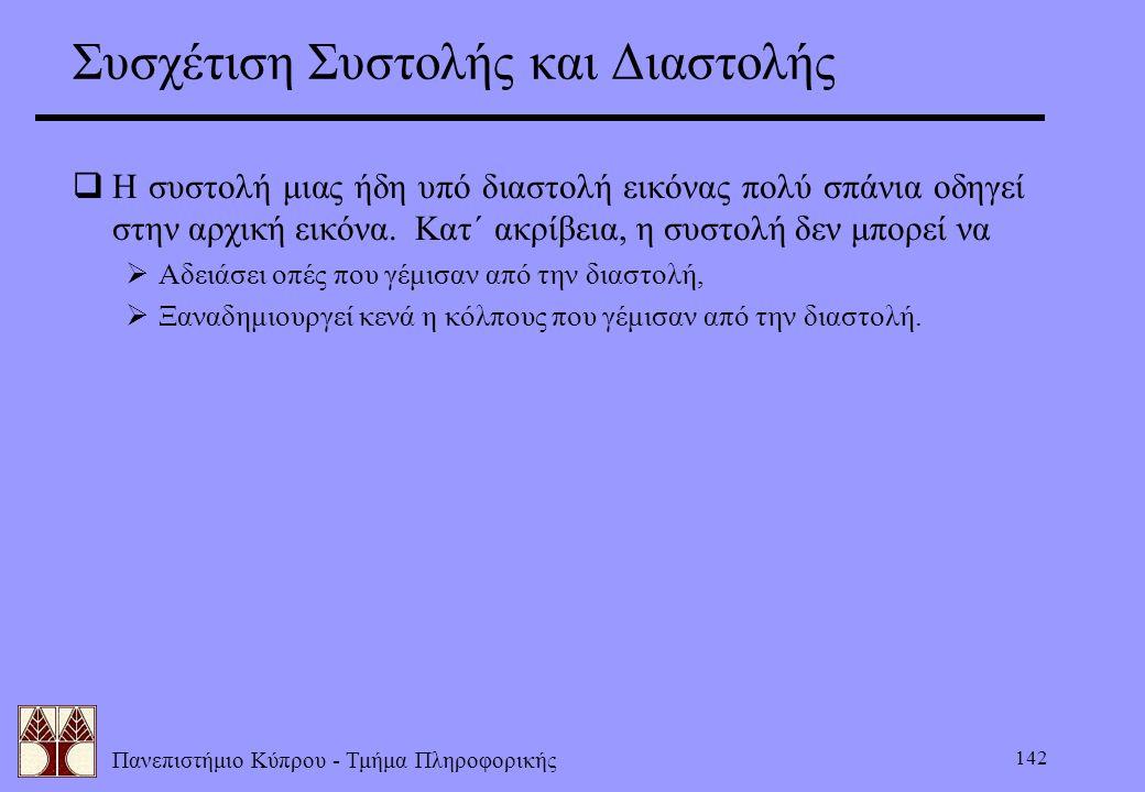Πανεπιστήμιο Κύπρου - Τμήμα Πληροφορικής 142 Συσχέτιση Συστολής και Διαστολής  Η συστολή μιας ήδη υπό διαστολή εικόνας πολύ σπάνια οδηγεί στην αρχική