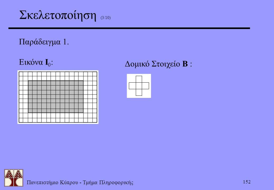 Πανεπιστήμιο Κύπρου - Τμήμα Πληροφορικής 152 Σκελετοποίηση (3/10) Παράδειγμα 1. Εικόνα Ι 0 : Δομικό Στοιχείο Β :