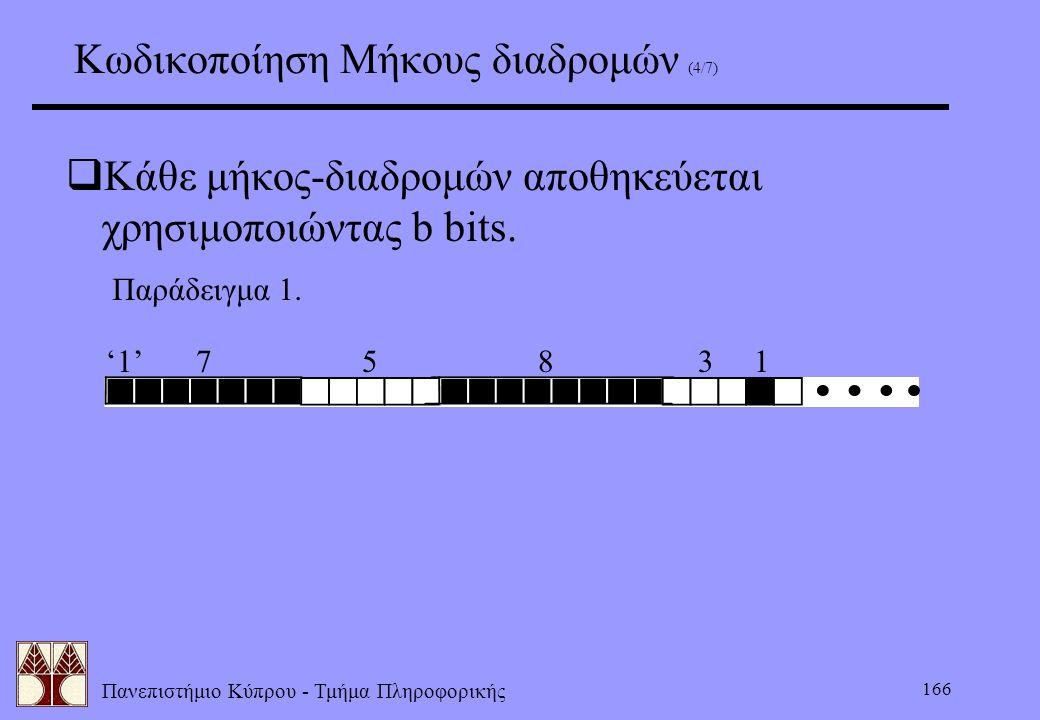 Πανεπιστήμιο Κύπρου - Τμήμα Πληροφορικής 166 Κωδικοποίηση Μήκους διαδρομών (4/7)  Κάθε μήκος-διαδρομών αποθηκεύεται χρησιμοποιώντας b bits. Παράδειγμ