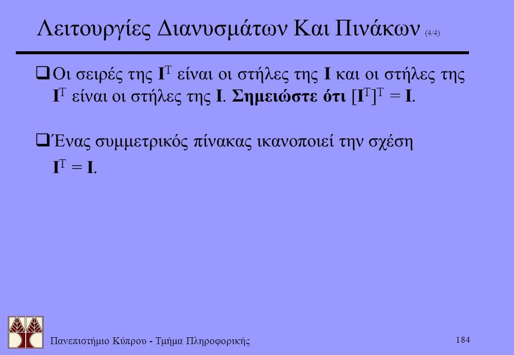 Πανεπιστήμιο Κύπρου - Τμήμα Πληροφορικής 184 Λειτουργίες Διανυσμάτων Και Πινάκων (4/4)  Οι σειρές της I T είναι οι στήλες της I και οι στήλες της I T