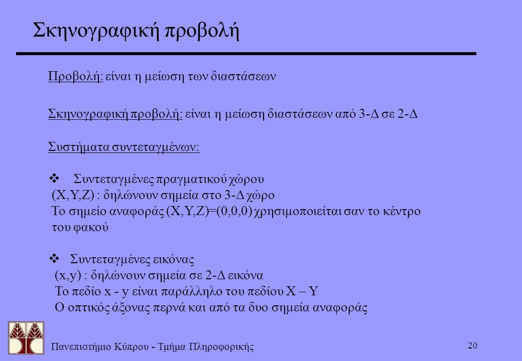 Πανεπιστήμιο Κύπρου - Τμήμα Πληροφορικής 20 Προβολή: είναι η μείωση των διαστάσεων Σκηνογραφική προβολή: είναι η μείωση διαστάσεων από 3-Δ σε 2-Δ Συστ