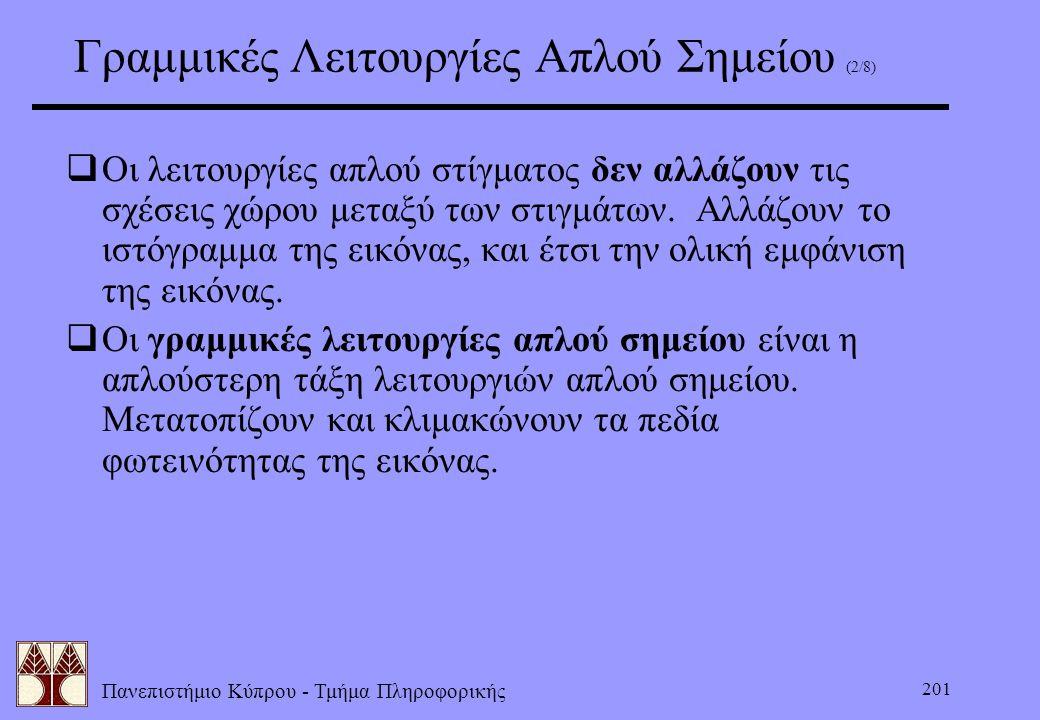 Πανεπιστήμιο Κύπρου - Τμήμα Πληροφορικής 201 Γραμμικές Λειτουργίες Απλού Σημείου (2/8)  Οι λειτουργίες απλού στίγματος δεν αλλάζουν τις σχέσεις χώρου