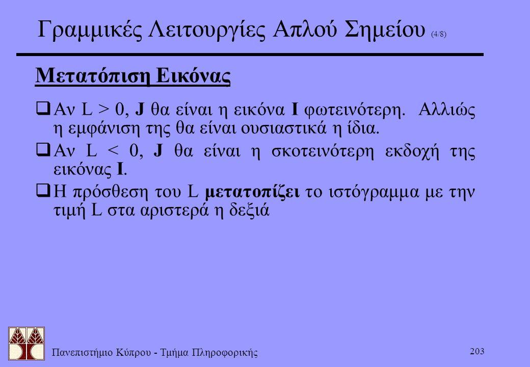 Πανεπιστήμιο Κύπρου - Τμήμα Πληροφορικής 203 Γραμμικές Λειτουργίες Απλού Σημείου (4/8) Μετατόπιση Εικόνας  Αν L > 0, J θα είναι η εικόνα I φωτεινότερ