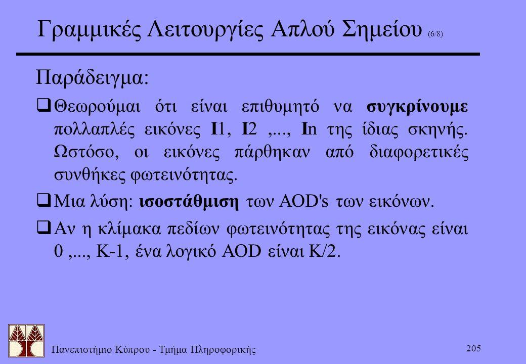 Πανεπιστήμιο Κύπρου - Τμήμα Πληροφορικής 205 Γραμμικές Λειτουργίες Απλού Σημείου (6/8) Παράδειγμα:  Θεωρούμαι ότι είναι επιθυμητό να συγκρίνουμε πολλ