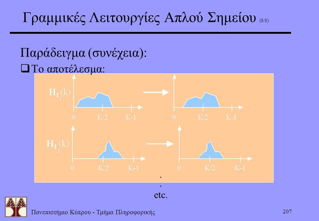 Πανεπιστήμιο Κύπρου - Τμήμα Πληροφορικής 207 Γραμμικές Λειτουργίες Απλού Σημείου (8/8) Παράδειγμα (συνέχεια):  Το αποτέλεσμα:. etc.