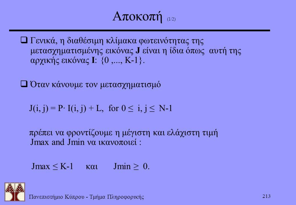 Πανεπιστήμιο Κύπρου - Τμήμα Πληροφορικής 213 Αποκοπή (1/2)  Γενικά, η διαθέσιμη κλίμακα φωτεινότητας της μετασχηματισμένης εικόνας J είναι η ίδια όπω