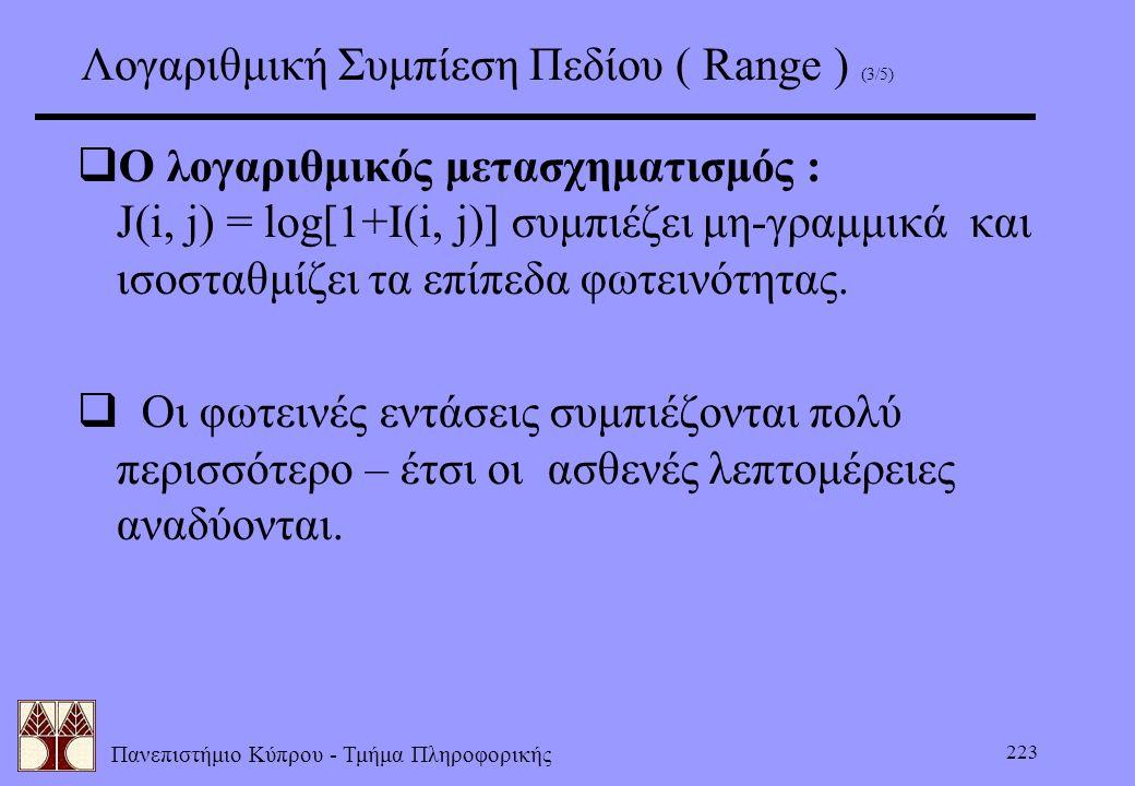 Πανεπιστήμιο Κύπρου - Τμήμα Πληροφορικής 223 Λογαριθμική Συμπίεση Πεδίου ( Range ) (3/5)  Ο λογαριθμικός μετασχηματισμός : J(i, j) = log[1+I(i, j)] σ