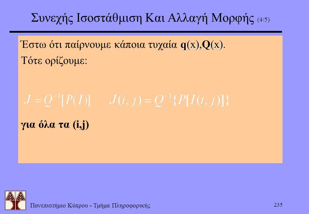 Πανεπιστήμιο Κύπρου - Τμήμα Πληροφορικής 235 Συνεχής Ισοστάθμιση Και Αλλαγή Μορφής (4/5) q(x),Q(x). Έστω ότι παίρνουμε κάποια τυχαία q(x),Q(x). Τότε ο