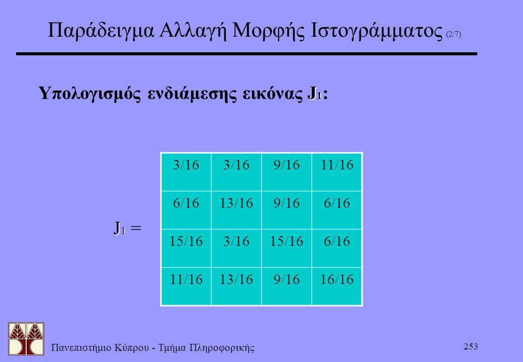 Πανεπιστήμιο Κύπρου - Τμήμα Πληροφορικής 253 Παράδειγμα Αλλαγή Μορφής Ιστογράμματος (2/7) J 1 Υπολογισμός ενδιάμεσης εικόνας J 1 : J 1 J 1 = 3/16 9/16