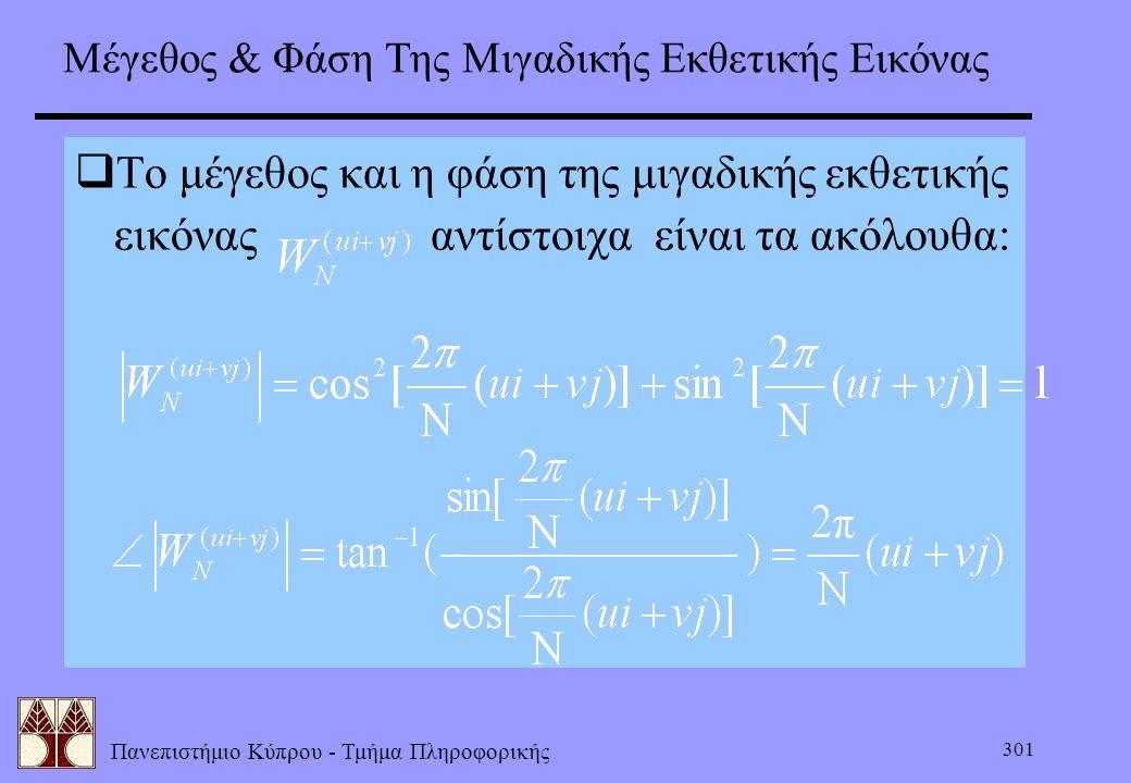 Πανεπιστήμιο Κύπρου - Τμήμα Πληροφορικής 301 Μέγεθος & Φάση Της Μιγαδικής Εκθετικής Εικόνας  Το μέγεθος και η φάση της μιγαδικής εκθετικής εικόνας αν