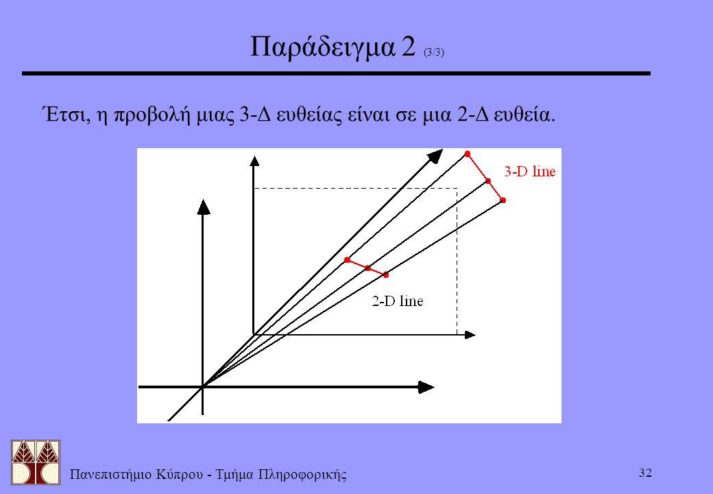 Πανεπιστήμιο Κύπρου - Τμήμα Πληροφορικής 32 Παράδειγμα 2 (3/3) Έτσι, η προβολή μιας 3-Δ ευθείας είναι σε μια 2-Δ ευθεία.