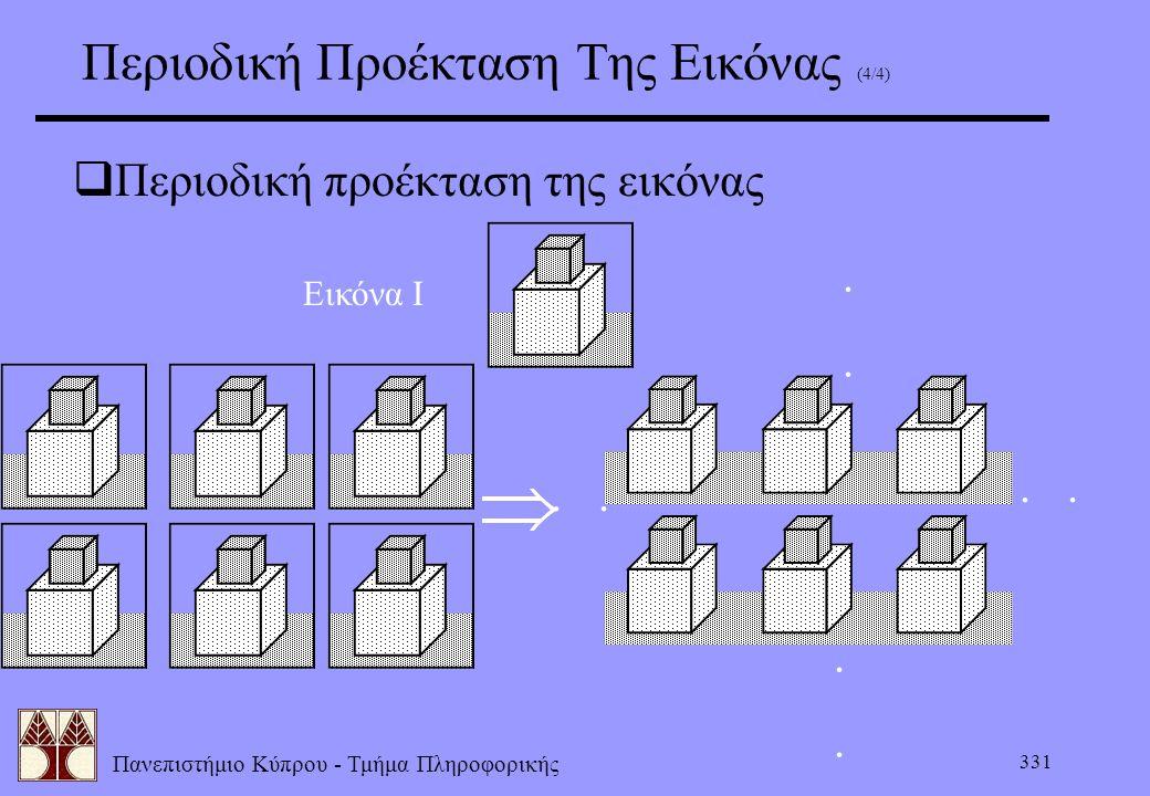 Πανεπιστήμιο Κύπρου - Τμήμα Πληροφορικής 331 Περιοδική Προέκταση Της Εικόνας (4/4)  Περιοδική προέκταση της εικόνας......... Εικόνα Ι