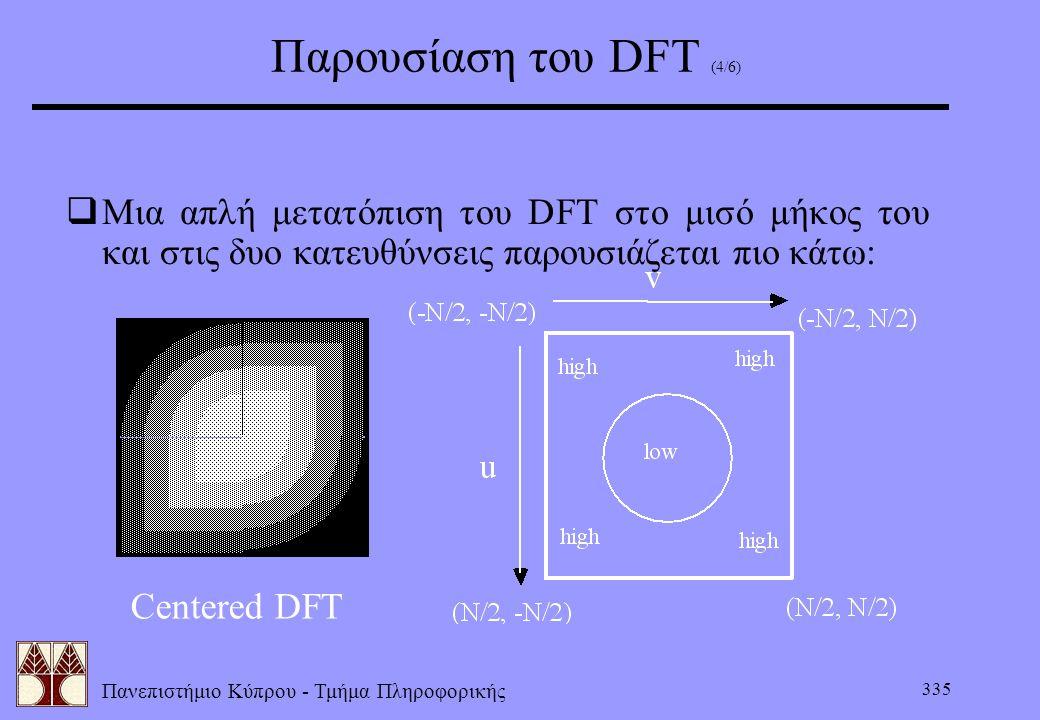 Πανεπιστήμιο Κύπρου - Τμήμα Πληροφορικής 335 Παρουσίαση του DFT (4/6)  Μια απλή μετατόπιση του DFT στο μισό μήκος του και στις δυο κατευθύνσεις παρου