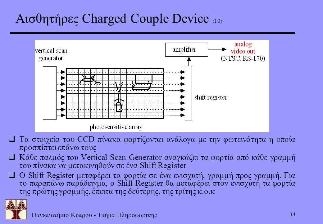 Πανεπιστήμιο Κύπρου - Τμήμα Πληροφορικής 34 Αισθητήρες Charged Couple Device (1/3)  Τα στοιχεία του CCD πίνακα φορτίζονται ανάλογα με την φωτεινότητα