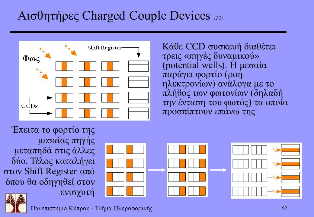 Πανεπιστήμιο Κύπρου - Τμήμα Πληροφορικής 35 Αισθητήρες Charged Couple Devices (2/3) Κάθε CCD συσκευή διαθέτει τρεις «πηγές δυναμικού» (potential wells