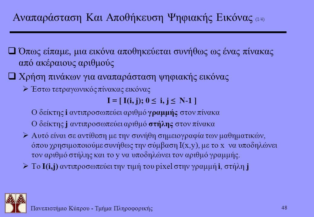 Πανεπιστήμιο Κύπρου - Τμήμα Πληροφορικής 48 Αναπαράσταση Και Αποθήκευση Ψηφιακής Εικόνας (1/4)  Όπως είπαμε, μια εικόνα αποθηκεύεται συνήθως ως ένας