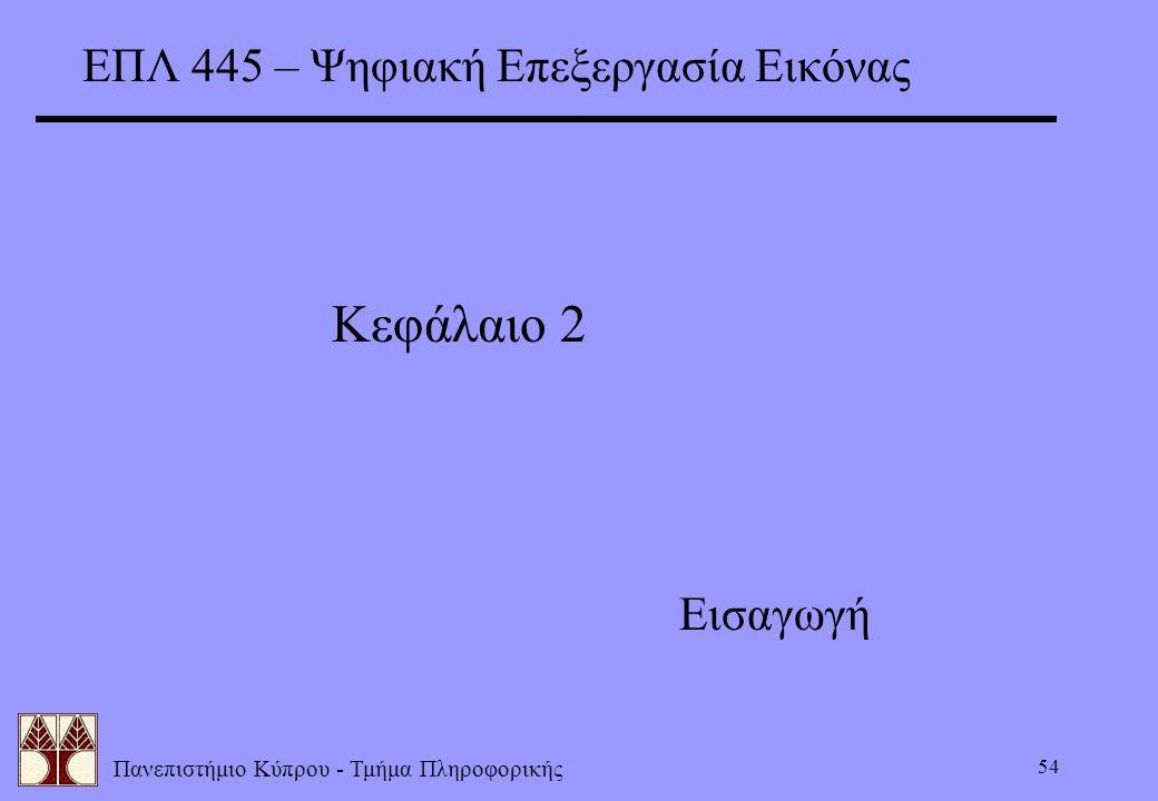Πανεπιστήμιο Κύπρου - Τμήμα Πληροφορικής 54 ΕΠΛ 445 – Ψηφιακή Επεξεργασία Εικόνας Κεφάλαιο 2 Εισαγωγή