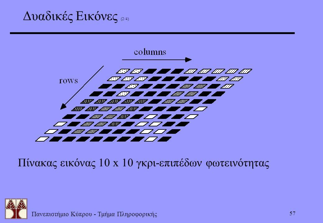 Πανεπιστήμιο Κύπρου - Τμήμα Πληροφορικής 57 Πίνακας εικόνας 10 x 10 γκρι-επιπέδων φωτεινότητας Δυαδικές Εικόνες (2/4)