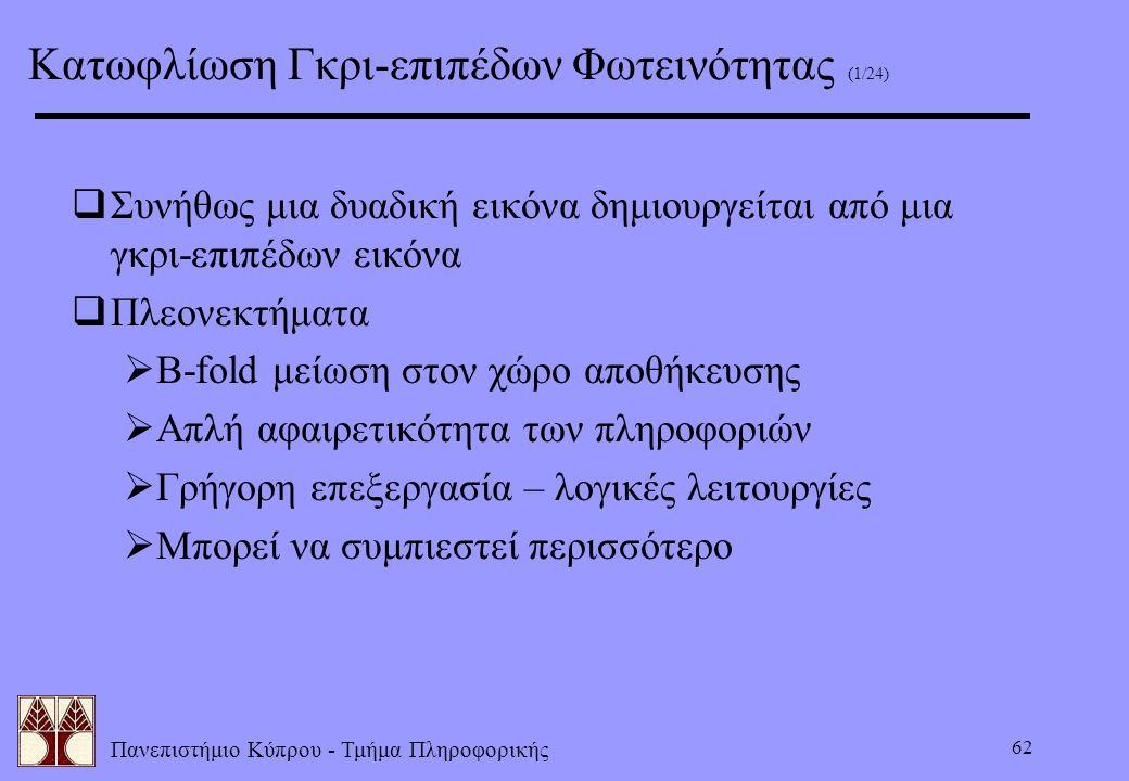 Πανεπιστήμιο Κύπρου - Τμήμα Πληροφορικής 62 Κατωφλίωση Γκρι-επιπέδων Φωτεινότητας (1/24)  Συνήθως μια δυαδική εικόνα δημιουργείται από μια γκρι-επιπέ