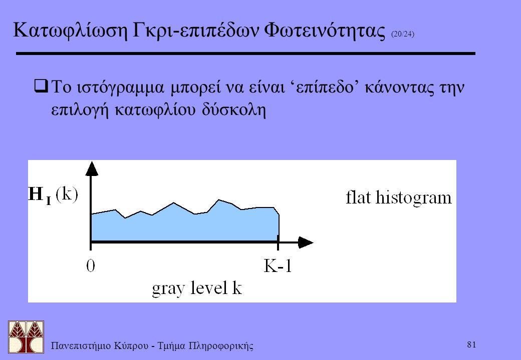 Πανεπιστήμιο Κύπρου - Τμήμα Πληροφορικής 81  Το ιστόγραμμα μπορεί να είναι 'επίπεδο' κάνοντας την επιλογή κατωφλίου δύσκολη Κατωφλίωση Γκρι-επιπέδων