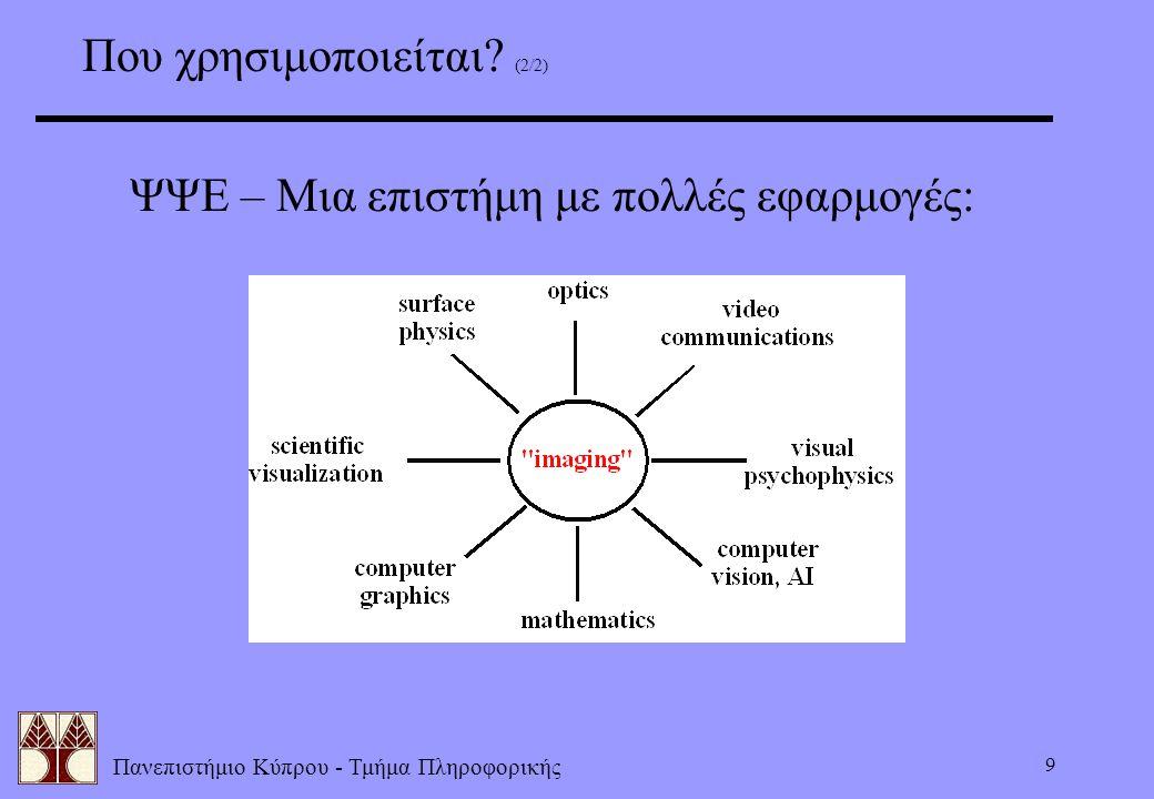 Πανεπιστήμιο Κύπρου - Τμήμα Πληροφορικής 9 Που χρησιμοποιείται? (2/2) ΨΨΕ – Μια επιστήμη με πολλές εφαρμογές: