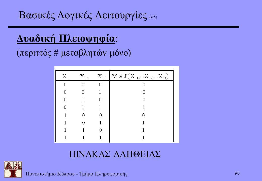 Πανεπιστήμιο Κύπρου - Τμήμα Πληροφορικής 90 Δυαδική Πλειοψηφία: (περιττός # μεταβλητών μόνο) ΠΙΝΑΚΑΣ ΑΛΗΘΕΙΑΣ Βασικές Λογικές Λειτουργίες (4/5)