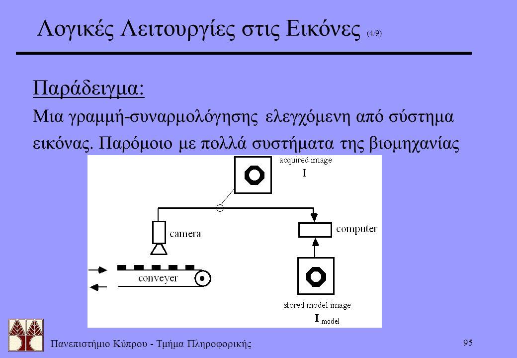 Πανεπιστήμιο Κύπρου - Τμήμα Πληροφορικής 95 Λογικές Λειτουργίες στις Εικόνες (4/9) Παράδειγμα: Μια γραμμή-συναρμολόγησης ελεγχόμενη από σύστημα εικόνα