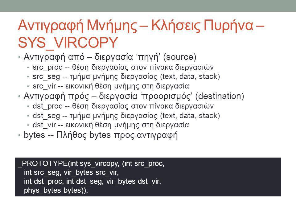 Αντιγραφή Μνήμης – Κλήσεις Πυρήνα – SYS_VIRCOPY Αντιγραφή από – διεργασία 'πηγή' (source) src_proc -- θέση διεργασίας στον πίνακα διεργασιω