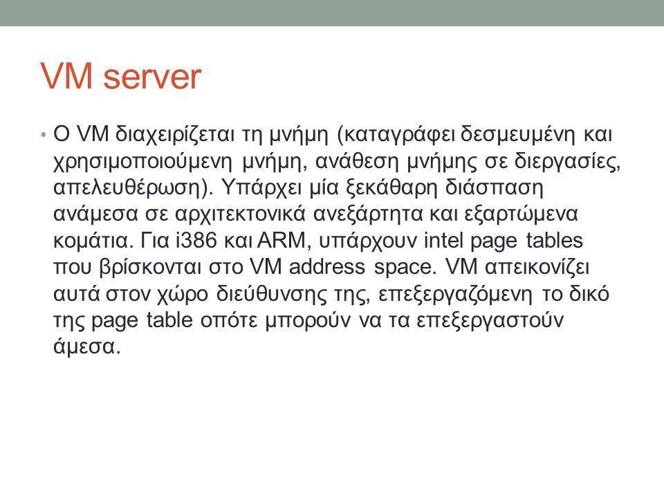 VM server O VM διαχειρίζεται τη μνήμη (καταγράφει δεσμευμένη και χρησιμοποιούμενη μνήμη, ανάθεση μνήμης σε διεργασίες, απελευθέρωση). Υπάρχει μία ξεκά