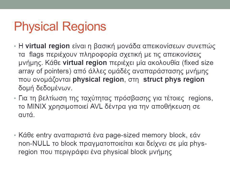 Physical Regions Η virtual region είναι η βασική μονάδα απεικονίσεων συνεπώς τα flags περιέχουν πληροφορία σχετική με τις απεικονίσεις μνήμης. Κάθε vi