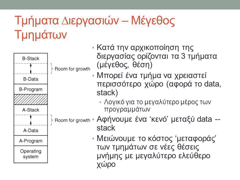 Αντιγραφή Μνήμης – Κλήσεις Πυρήνα – SYS_VIRCOPY Αντιγραφή από – διεργασία 'πηγή' (source) src_proc -- θέση διεργασίας στον πίνακα διεργασιών src_seg -- τμήμα μνήμης διεργασίας (text, data, stack) src_vir -- εικονική θέση μνήμης στη διεργασία Αντιγραφή πρός – διεργασία 'προορισμός' (destination) dst_proc -- θέση διεργασίας στον πίνακα διεργασιών dst_seg -- τμήμα μνήμης διεργασίας (text, data, stack) dst_vir -- εικονική θέση μνήμης στη διεργασία bytes -- Πλήθος bytes προς αντιγραφή _PROTOTYPE(int sys_vircopy, (int src_proc, int src_seg, vir_bytes src_vir, int dst_proc, int dst_seg, vir_bytes dst_vir, phys_bytes bytes));