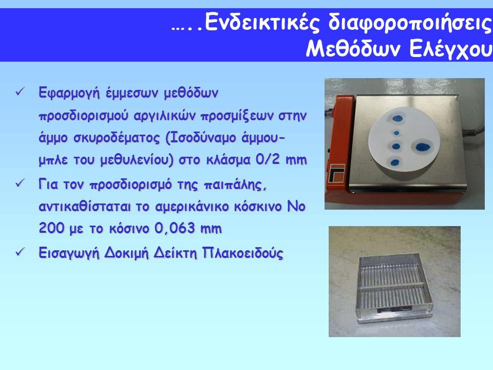 Εφαρμογή έμμεσων μεθόδων προσδιορισμού αργιλικών προσμίξεων στην άμμο σκυροδέματος (Ισοδύναμο άμμου- μπλε του μεθυλενίου) στο κλάσμα 0/2 mm Εφαρμογή έ