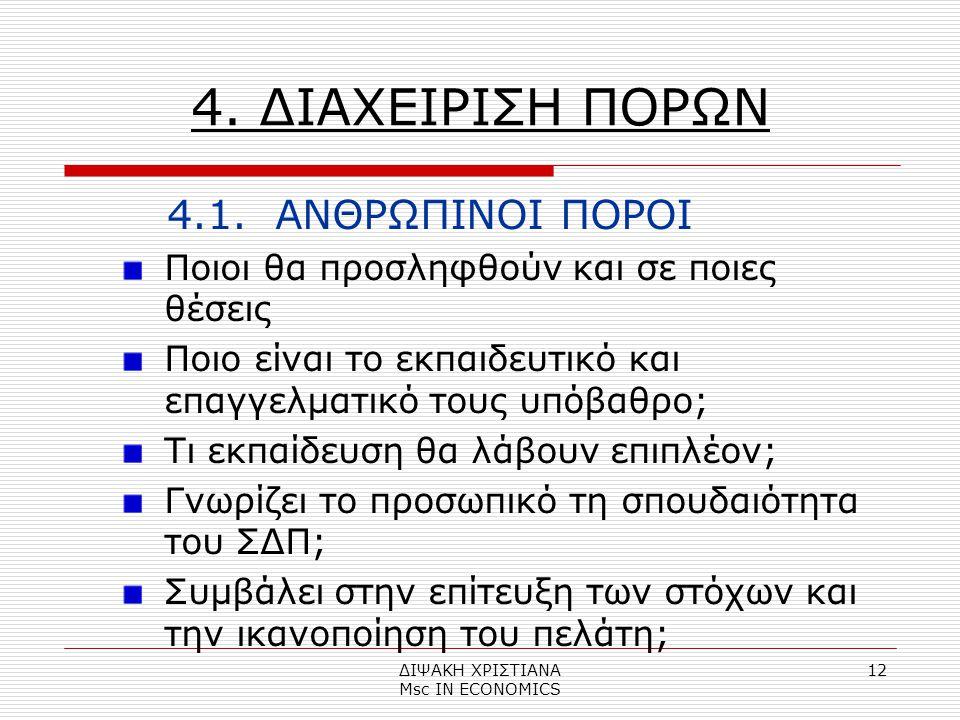 ΔΙΨΑΚΗ ΧΡΙΣΤΙΑΝΑ Μsc IN ECONOMICS 12 4.ΔΙΑΧΕΙΡΙΣΗ ΠΟΡΩΝ 4.1.