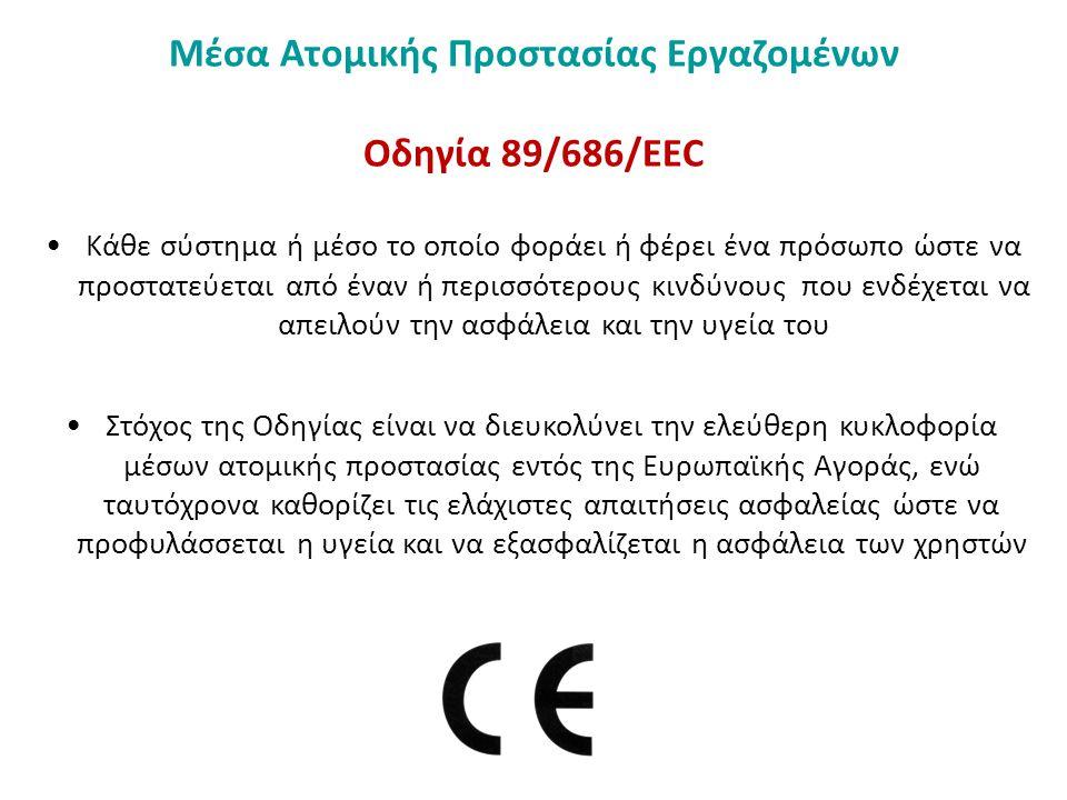 Μέσα Ατομικής Προστασίας Εργαζομένων Οδηγία 89/686/ΕΕC Κατηγοριοποίηση ανάλογα με τη βαρύτητα του κινδύνου από τον οποίον προστατεύουν και την πολυπλοκότητα του σχεδιασμού τους Κατηγορία Ι :Κατηγορία Ι : απλός σχεδιασμός / μικροί κίνδυνοι (π.χ.