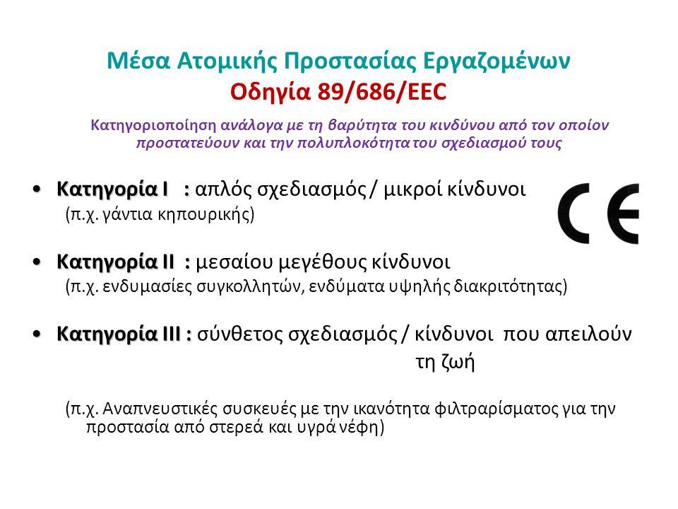 Μέσα Ατομικής Προστασίας Εργαζομένων Οδηγία 89/686/ΕΕC Κατηγοριοποίηση ανάλογα με τη βαρύτητα του κινδύνου από τον οποίον προστατεύουν και την πολυπλο