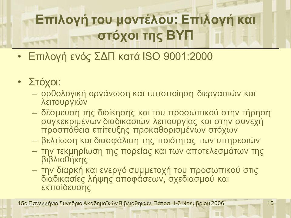 15ο Πανελλήνιο Συνέδριο Ακαδημαϊκών Βιβλιοθηκών, Πάτρα, 1-3 Νοεμβρίου 200610 Επιλογή του μοντέλου: Επιλογή και στόχοι της ΒΥΠ Επιλογή ενός ΣΔΠ κατά ISO 9001:2000 Στόχοι: –ορθολογική οργάνωση και τυποποίηση διεργασιών και λειτουργιών –δέσμευση της διοίκησης και του προσωπικού στην τήρηση συγκεκριμένων διαδικασιών λειτουργίας και στην συνεχή προσπάθεια επίτευξης προκαθορισμένων στόχων –βελτίωση και διασφάλιση της ποιότητας των υπηρεσιών –την τεκμηρίωση της πορείας και των αποτελεσμάτων της βιβλιοθήκης –την διαρκή και ενεργό συμμετοχή του προσωπικού στις διαδικασίες λήψης αποφάσεων, σχεδιασμού και εκπαίδευσης