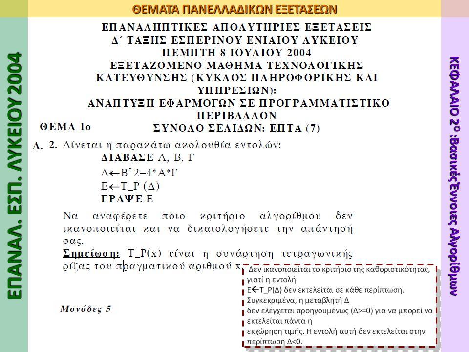 ΕΠΑΝΑΛ. ΕΣΠ. ΛΥΚΕΙΟΥ 2004 ΘΕΜΑΤΑ ΠΑΝΕΛΛΑΔΙΚΩΝ ΕΞΕΤΑΣΕΩΝ ΚΕΦΑΛΑΙΟ 2 Ο :Βασικές Έννοιες Αλγορίθμων